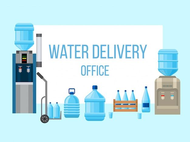 Bouteilles d'eau en plastique de livraison.