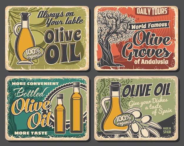 Bouteilles d'huile d'olive, arbre et fruits