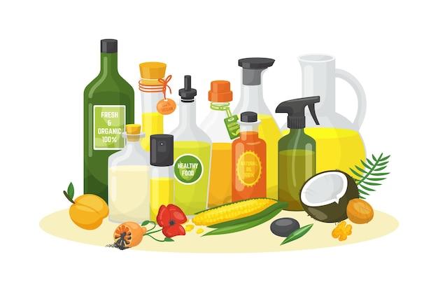 Bouteilles d'huile pour les aliments biologiques