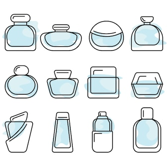 Bouteilles avec jeu d'icônes de vecteur lineart de parfum