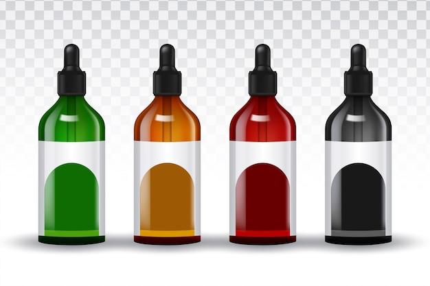 Bouteilles de jeu réaliste de vecteur pour huiles essentielles et produits cosmétiques