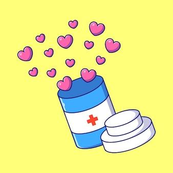 Bouteilles de la journée mondiale du pharmacien d'amour plat illustration. concept d'icône de pharmacie et de médecine isolé.
