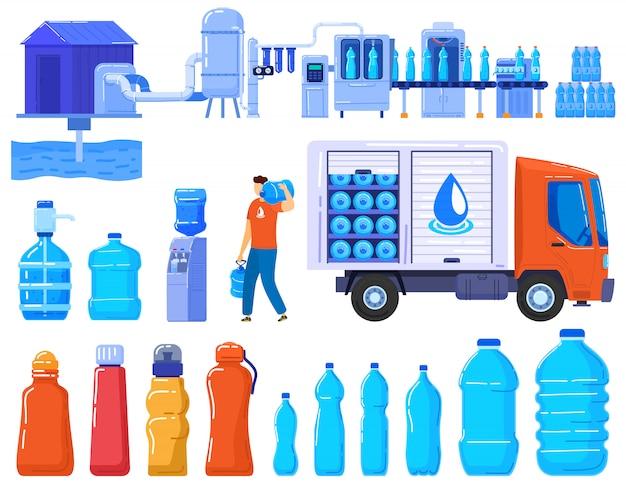 Bouteilles de livraison d'eau, industrie de la logistique des services aux entreprises, contaners en plastique et camion d'eau potable ensemble d'illustration.