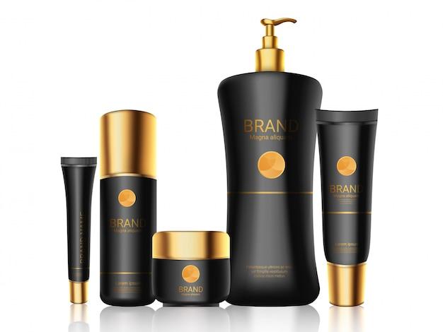 Bouteilles noires élégantes avec des bouchons en or réalistes, cosmétiques, parfum