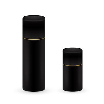 Bouteilles noires et grandes en aérosol, bouteille en métal pour cosmétique, parfum ou fixatif. emballage déodorant.