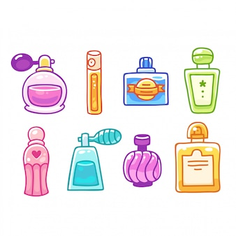 Bouteilles de parfum dessinées à la main de dessin animé mignon