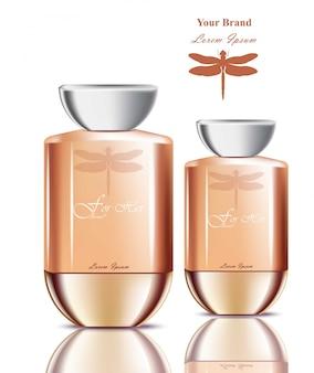 Bouteilles de parfum réalistes. emballage de produit pour les marques, la publicité, les publicités