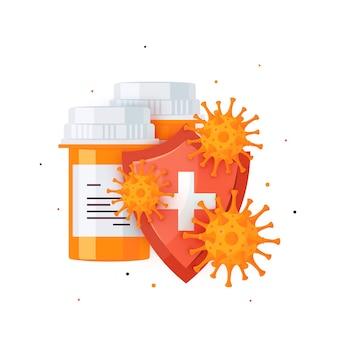 Bouteilles de pilules et protection contre les bactéries et les virus