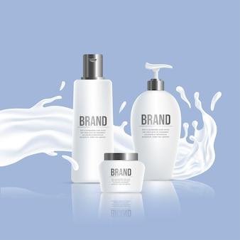 Bouteilles en plastique blanc avec nom de marque et éclaboussures de liquide blanc