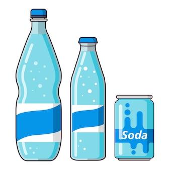 Bouteilles en plastique d'eau minérale et canette de soda