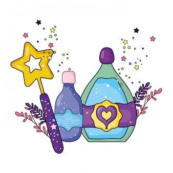 Bouteilles de potion magique avec baguette