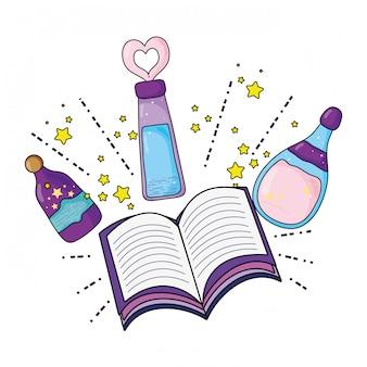 Bouteilles de potions magiques avec livre