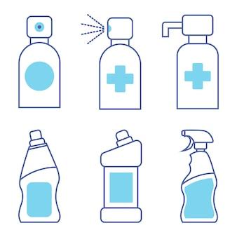Bouteilles de produits chimiques ménagers détergent liquide ou savon