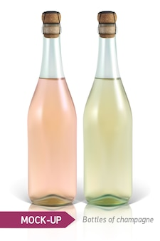 Bouteilles réalistes de champagne sur fond blanc avec reflet et ombre. modèle d'étiquette.