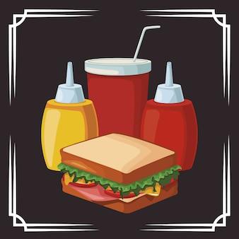 Bouteilles de sandwich et de sauces et tasse de boisson gazeuse