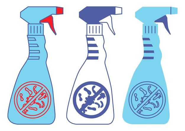 Bouteilles avec signe de bactérie d'interdiction bouteilles de produits chimiques ménagers sprays désinfectants