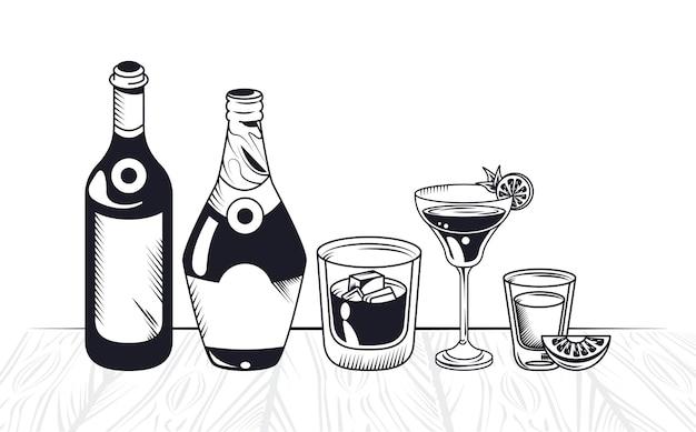 Bouteilles et tasses de boissons alcoolisées