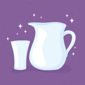 Bouteilles de tasses en plastique ou en verre, bocal en verre et ustensiles de tasse vector illustration