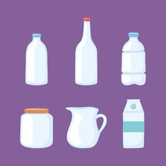 Bouteilles de tasses en plastique ou en verre, bouteilles bocal pichet boîte conteneur icônes vector illustration