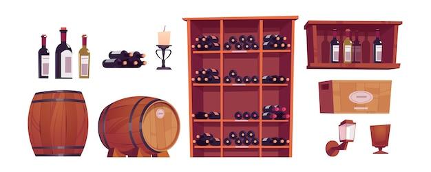 Bouteilles et tonneaux de vin, fûts en bois, étagère, casier et boîte avec de l'alcool.
