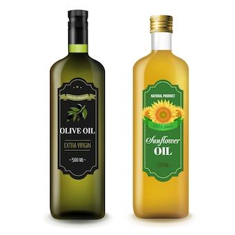 Bouteilles de tournesols et d'olives d'olive blanches