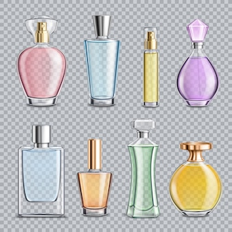 Bouteilles en verre de parfum transparent