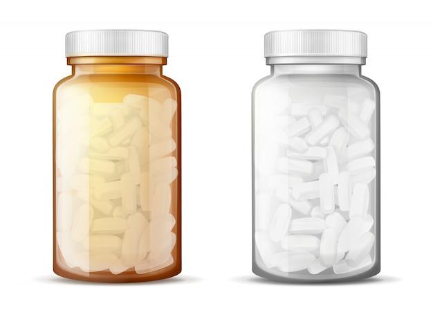 Bouteilles en verre avec des pilules réalistes