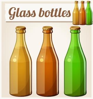 Bouteilles en verre sans icône vectorielle détaillée d'étiquette