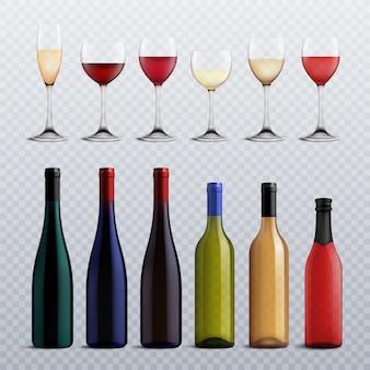 Bouteilles et verres à vin remplis de différentes variétés de vin sur un ensemble réaliste transparent