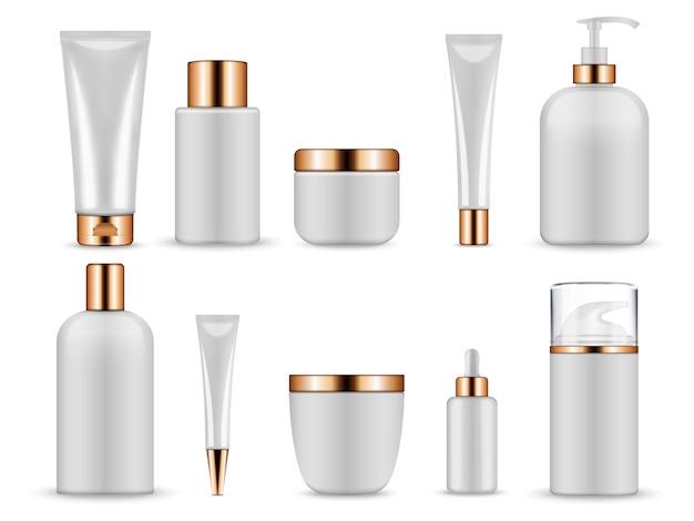 Bouteilles vierges blanches et tubes pour produits cosmétiques.