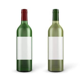 Bouteilles de vin rouge et blanc sur fond blanc.