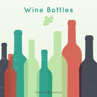 Bouteilles de vin silhouettes
