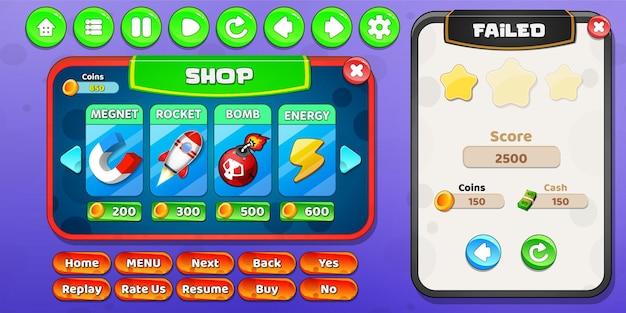 La boutique d'articles et le menu d'échec du niveau apparaissent avec des boutons