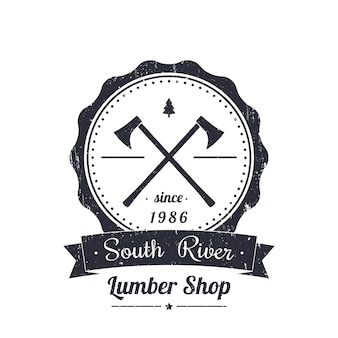 Boutique de bois rond logo vintage, emblème, avec grunge