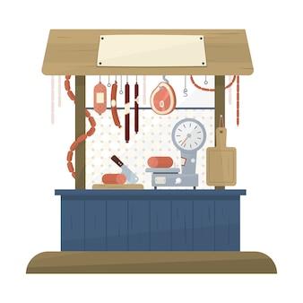Boutique de bouchers dans un style plat