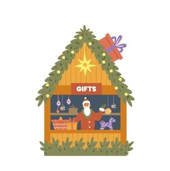 Boutique de cadeaux de foire de noël avec illustration vectorielle plane vendeur