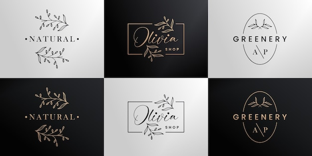 Boutique de collection de conception de logo de marque d'or