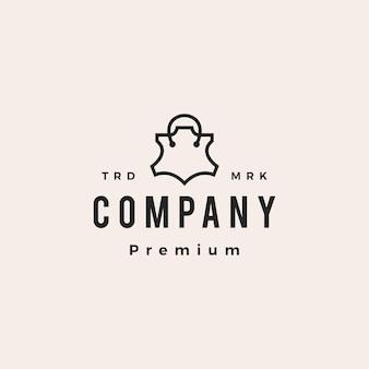 Boutique en cuir magasin sac shopping hipster logo vintage icône illustration vectorielle