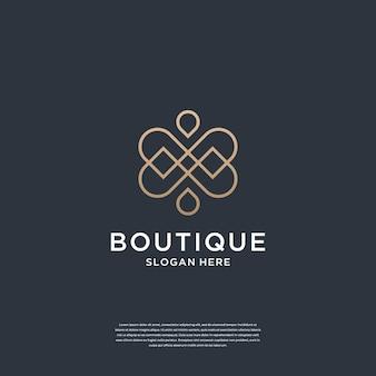 Boutique élégante minimaliste avec la marque de conception de logo de concept d'infini