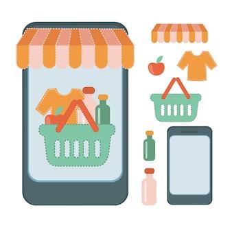 BOUTIQUE EN LIGNE Flat Illustration Set À propos des achats en ligne effectués depuis un smartphone