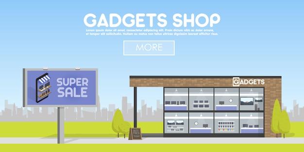 Boutique de gadgets de façade dans la bannière de l'espace urbain