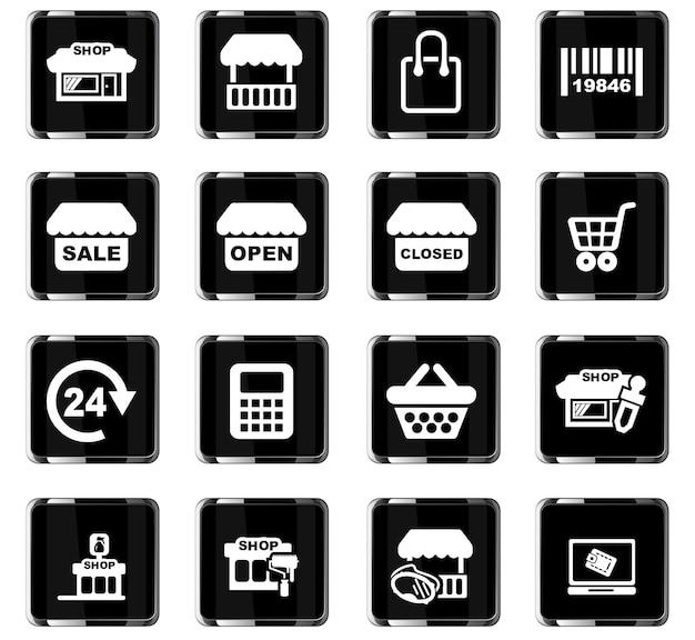 Boutique d'icônes vectorielles pour la conception d'interface utilisateur