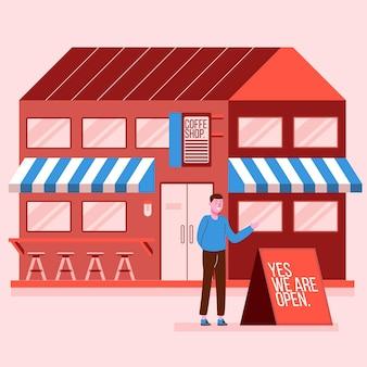 Boutique avec illustration de signe ouvert
