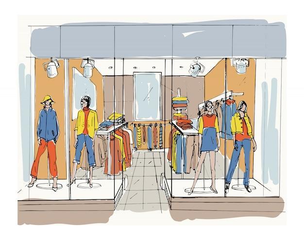Boutique d'intérieur moderne, centre commercial, centre commercial avec des vêtements. illustration de croquis de contour.