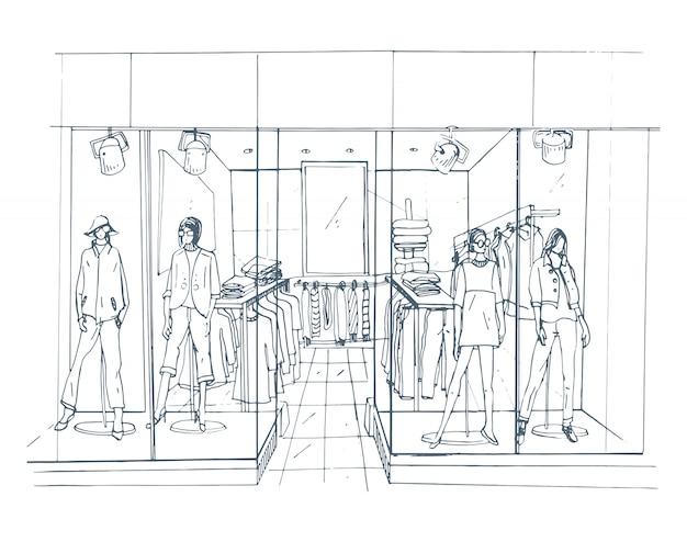 Boutique d'intérieur moderne, centre commercial, centre commercial avec des vêtements.