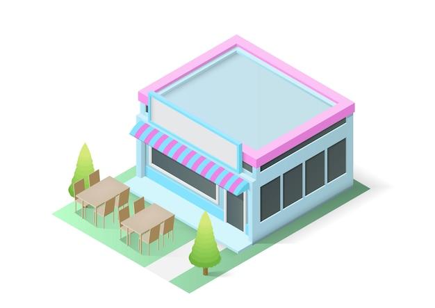 Boutique isométrique ou bâtiment de café. illustration vectorielle