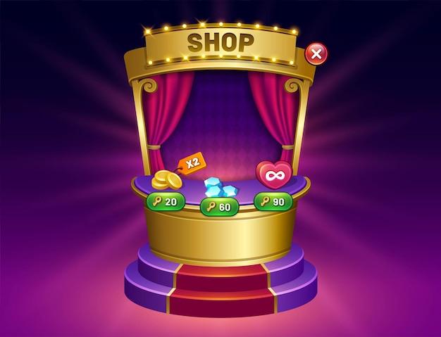 Boutique de jeux et écran de menu du magasin