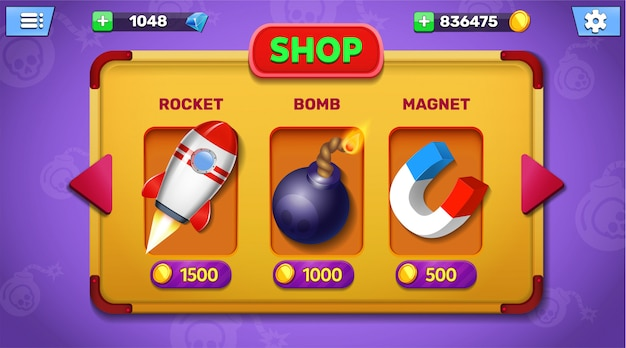 Boutique de jeux fantastiques et écran de menu de magasin