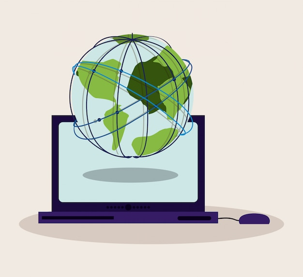 Boutique en ligne concept, globe terrestre sur ordinateur portable