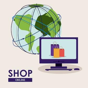 Boutique en ligne concept, globe terrestre et ordinateur avec des sacs